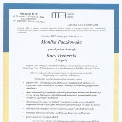 certyfikat trenerski